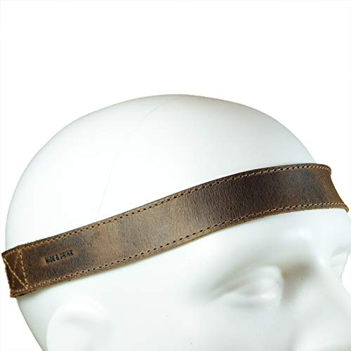 Hide & Drink, Leather Simple Headband, Boho Fashion, Elastic Headwrap, Cute Accessories, Handmade Includes 101 Year Warranty :: Bourbon Brown