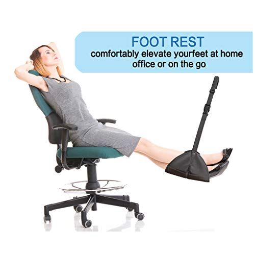 Ckssyao Foot Hammock - Aircraft Pedal - Portable Fly Leg Sling Comfort And Memory Foam Flight Bus Train Office - Prevents Expansion And Stiffness,Black
