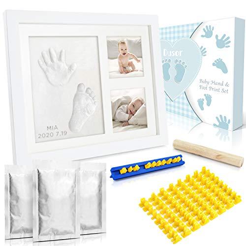 Dusor Gipsabdruck Baby Hand und Fuß, Baby Handabdruck und Fußabdruck Set mit Buchstaben Set und Bilderrahmen, Kreativset für junge Eltern, Geschenke zur Geburt, Erinnerungen für die Ewigkeit
