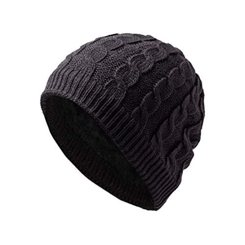 HIOD Beanie Sombreros de Invierno Cálido - Gorro de Punto para Mujeres Hombres - Gorros de Lana con Forro de Calavera,Gray