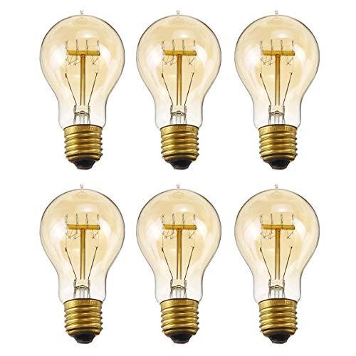 Edison Vintage Glühbirne, E27 A19 40W Retro Vintage Stil Dekorative Glühbirne Lampe Warmweiß Ideal für Nostalgie und Antik Beleuchtung Dimmbar 220V (6 Stück)