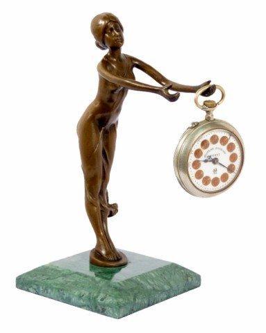 Kunst & Ambiente - Bronzefigur - Uhrenhalter aus Bronze - signiert - Bruno Zach - Taschenuhrenhalter - Taschenuhrenständer in Bronze