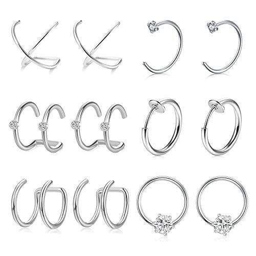 AVYRING Chirurgenstahl Non-Pierced Ear Cuff Schmuck für Damen Herren Fake Nasenpiercing Helix Knorpel Ohr Piercing 6 Paare - Silber