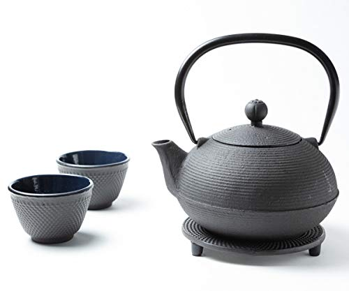 Tealøv TEEKANNE GUSSEISEN 900 ml - KOMPLETTES Set Gusseisen Teekanne mit Sieb, Teetassen und Untersetzer Teeservice im Japanischen Stil – Ganzou Schwarz