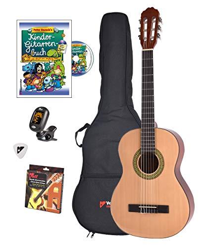 Voggy's Kindergitarren-Set ¾ - Gitarre für Kinder ab 8 Jahren im Komplettset mit Zubehör auch geeignet für Anfänger, natur