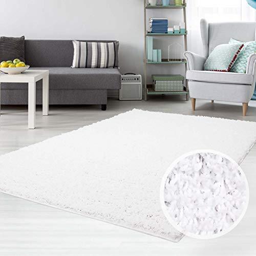 carpet city Hochflor Shaggy Teppich Langflor Teppiche Einfarbig Uni Weiss für Wohnzimmer...