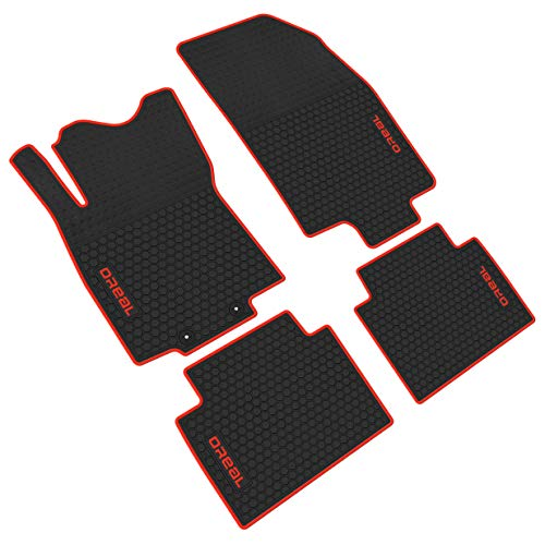 iallauto All Weather Floor Liners Custom Fit for Nissan Rogue 2014-2019 2 Row Seats Heavy Duty Rubber Car Mats Front and Rear Seat Vehicle Carpet-Black Red Odorless