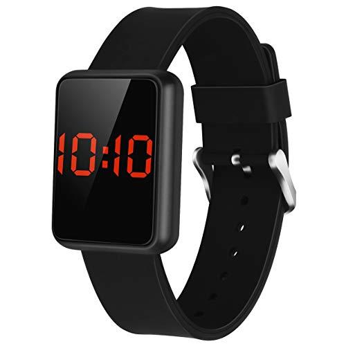 Kinder Digitaluhr Led Touchscreen Digital Armbanduhr Elektronische Sport Uhren für Jungen Mädchen Frauen Uhr mit Silikonband (Schwarz)