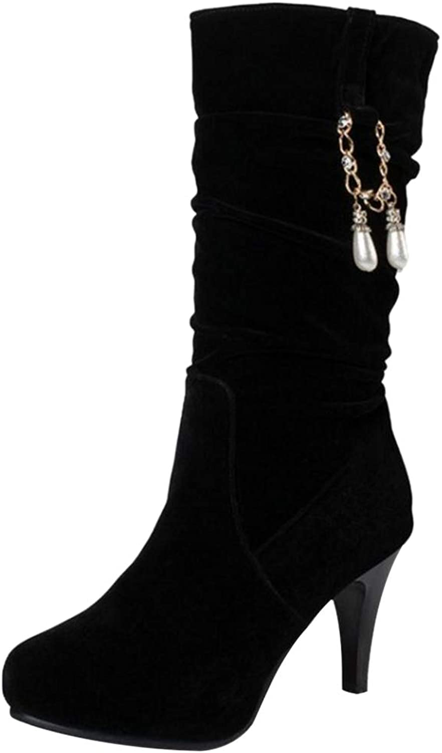 TAOFFEN Women Thin Heel Slouch Boots Pull On