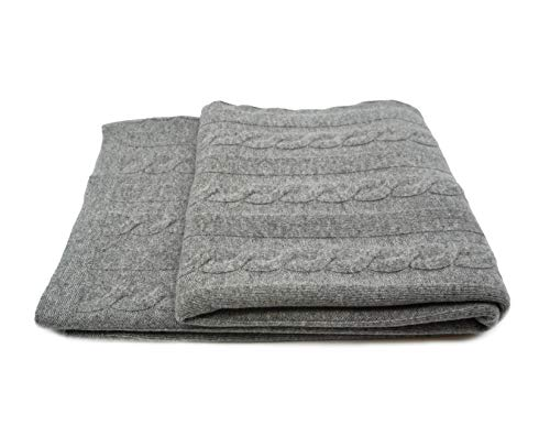 State Cashmere Cable Knit Throw Blanket Merino Wool Cashmere Extra Soft Home Accent Bed Spread Oversized Wrap • 60 x 50 Inches Heather Grey