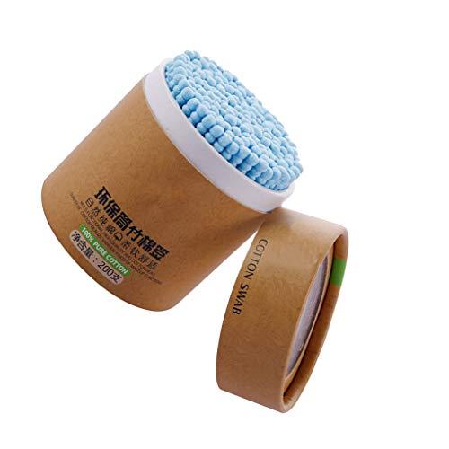 Allayu 200pcs / encabezados por Doble Caja de Maquillaje Esponja de algodón Espiral Esponja de algodón removedor hisopo de algodón de Madera selección del oído Sanitaria Palo