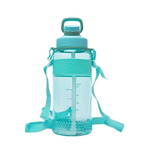CeFoney Botella de agua con pajita, deportiva Botella de agua con pajita Botellas de agua de gran capacidad con marcador para acampar Fitness Gimnasio Deportes al aire libre