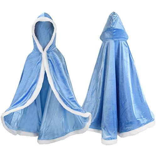 Proumhang Capo Principessa Bambina Mantello Principessa con Cappuccio Regina Costume Halloween Carnevale Natale Blu (Dress-up 2-12 Anni)