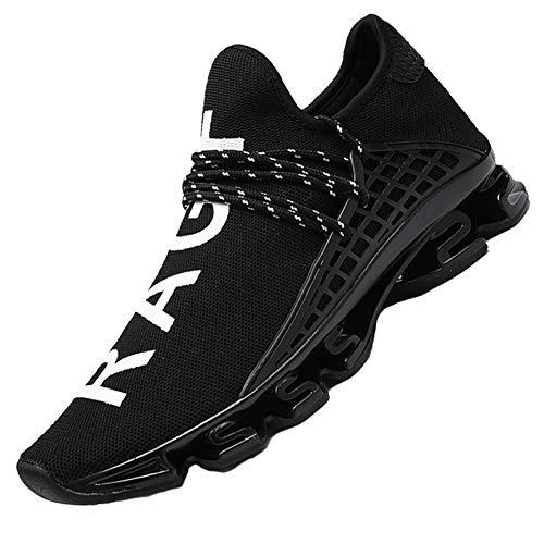 CAGAYA Sportschuhe Herren Laufschuhe Sneaker Mesh Atmungsaktive Sport Damen Turnschuhe Freizeitschuhe Schuhe größe 36-48 (46 EU, Schwarz)