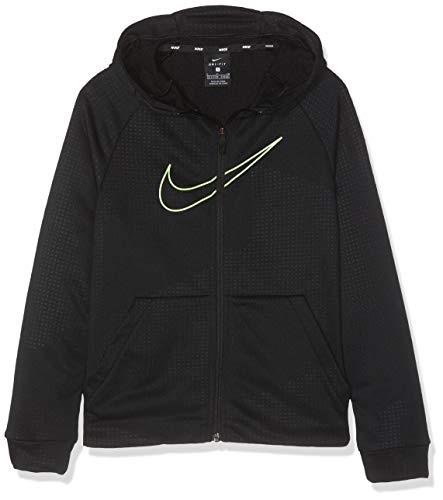 Nike B NK DRY HOODIE FZ EMB LEG Sweat-shirt Garçon Black/Lime Blast FR : S (Taille Fabricant : S)