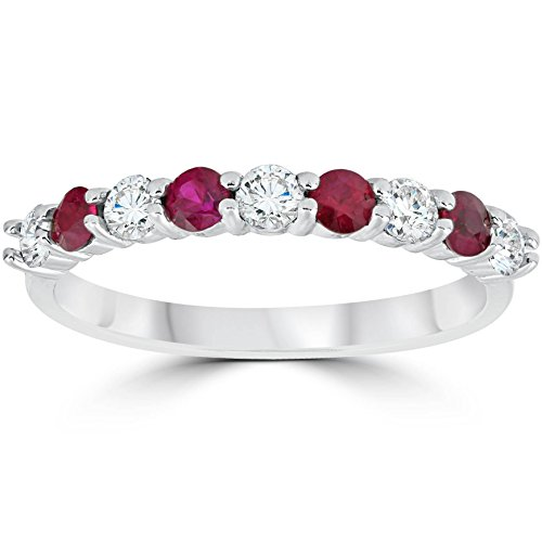 1/2CT Ruby & Diamond Wedding Ring 10K White Gold - Size 7