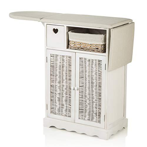 MONTEMAGGI Bügelschrank Shabby Chic weiß mit Brett und 1 Korb aus Weide und 2 Türen 66 x 37 x 87 cm (2 Türen + 1 Weidenkorb)