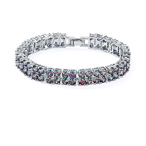 APCHY Pulsera De Diamantes De Cristal De Color Circonita, Novias Estudiantes,Joyería De Mano, Brazaletes,Cadena para Damas,Cumpleaños, San Valentín,Regalos para Mujeres