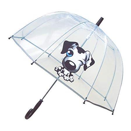 SMARTBULLE Parapluie Enfant Transparent Cloche - Bordure Fluorescente : Résistant au Vent ; Diamètre=71cm ; Ouverture Manuel ; Parapluie Garçon ; Motif : Chien