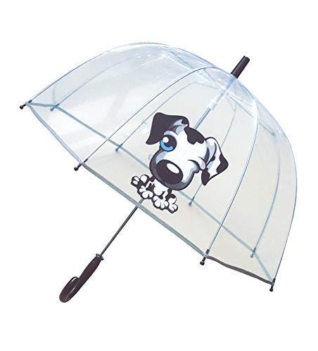 SMATI Kinderregenschirme - transparenter Stockschirm Glockenform - Der erste Fluoreszierende Regenschirm für die Sicherheit Ihres Kindes (Schwarzer Hund)