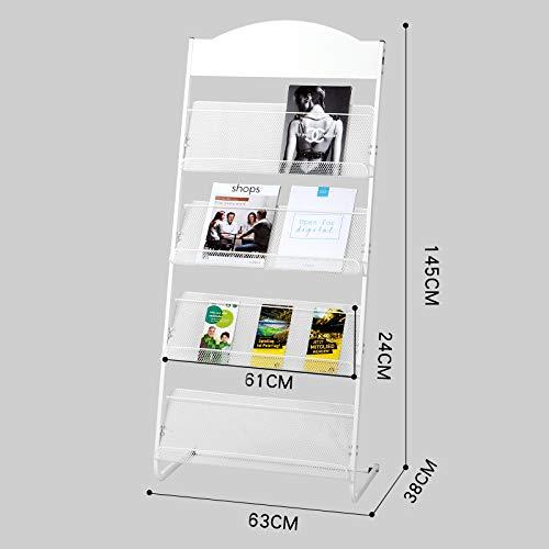 Kelly' Harvest House Zeitschriften und Broschüren Stehen Literatur Display-Ständer mit 4 Regalen Boden stehend Magazin Broschüre Rack, weiß/grau (Farbe : B)