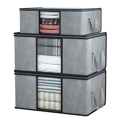 DIMJ 3 Stück Aufbewahrungstasche Faltbare Aufbewahrungsboxen, Große langlebige für Bettwäsche,...