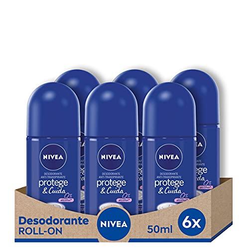 NIVEA Protege & Cuida Roll-on en pack de 6 (6 x 50 ml), desodorante antitranspirante con el aroma de NIVEA Creme, desodorante roll on con 0% alcohol