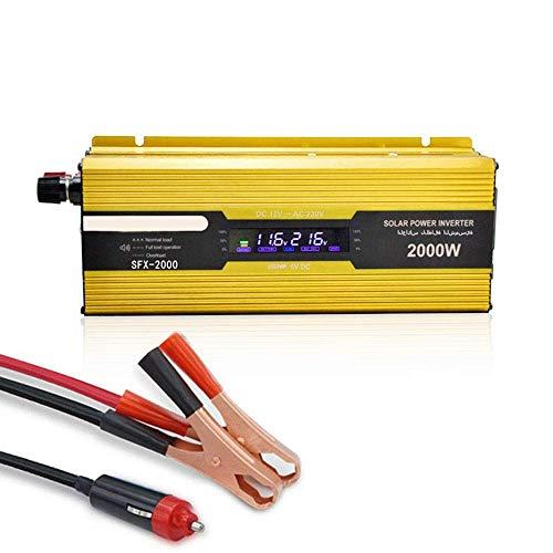 2000W de energía de Coche Inversor DC 12V a 220V AC convertidor con Salidas de CA y Cargador de Coche USB - Pantalla LCD, Pinzas cocodrilo, Encendedor, for el hogar portátil de Camiones SKYJIE