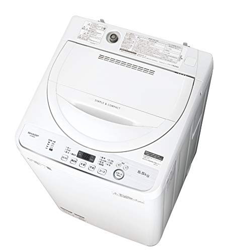 Sharp ES-GE5D-W Fully Automatic Washing Machine, Width 22.2 inches (56.5 cm), Body Width 20.5 inches (52.0 cm), 12.1 lbs (5.5 kg), Stainless Steel Tank, White Type