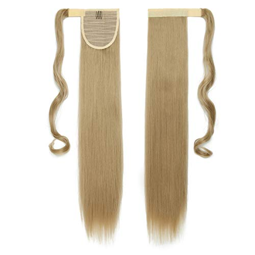 Hair Extensions Wrap on Ponytail Extension Capelli Veri Coda di Cavallo Parrucchino Ombre 58cm Dritto Biondo cenere