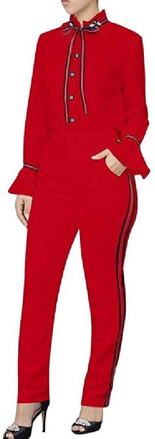 厳マティスヘルシー女性の仕事のオフィスはポケットストライプのトップスとズボンの服を振る Red US 2XLarge