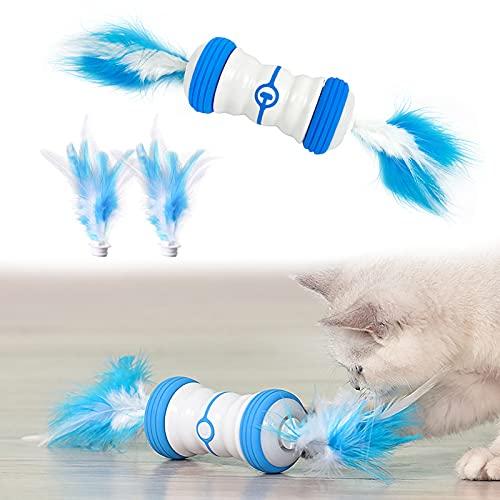 LONXAN Interaktives Elektrischer Katzenspielzeug, USB Aufladbar Interaktives Spielzeug für Katzen, Selbstrotierendes Intelligentes Katzenspielzeug, LED Leuchten Spielzeug mit Feder
