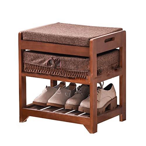 LYLY Zapatero moderno banco de almacenamiento, organizador de zapatos de madera maciza, estante de almacenamiento con cojín para entrada, pasillo y zapatero (color marrón