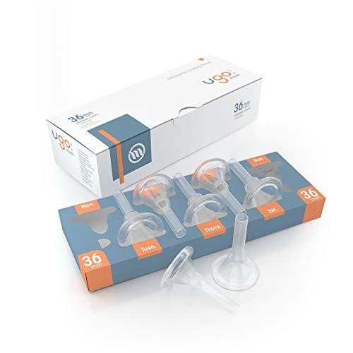Ugo-Scheide (x28) - 1-Monats-Versorgung mit Kondomen für externe Urin-Katheter - selbstklebend und latexfrei (Durchmesser - 36mm, Länge - Standard)