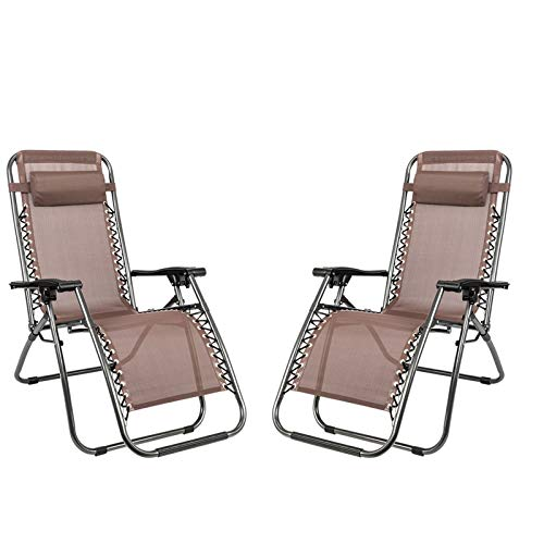 UODADA Best Choice Products Set of 2,Adjustablesteel Mesh Zero Gravity Lounge Chair Recliners W/ Cup Holder Trays, Brown.