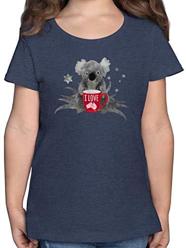 Städte & Länder Kind - I Love Australien Koala - 116 (5/6 Jahre) - Dunkelblau Meliert - t-Shirt mädchen 9 Jahre - F131K - Mädchen Kinder T-Shirt