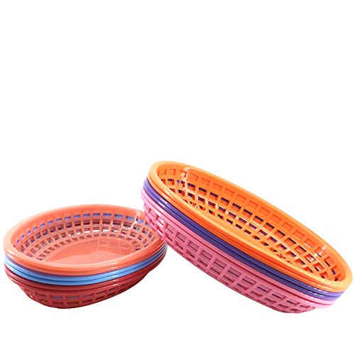 Plastic Bread Basket Fast Food Baskets Serving for Sandwiches Fries 10.5 x 7 Inch Set of 12,BPA Free