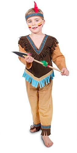 Folat 63268 Kinderkostüm Indianer Jungen, 3 teilig 98-116, Braun, S