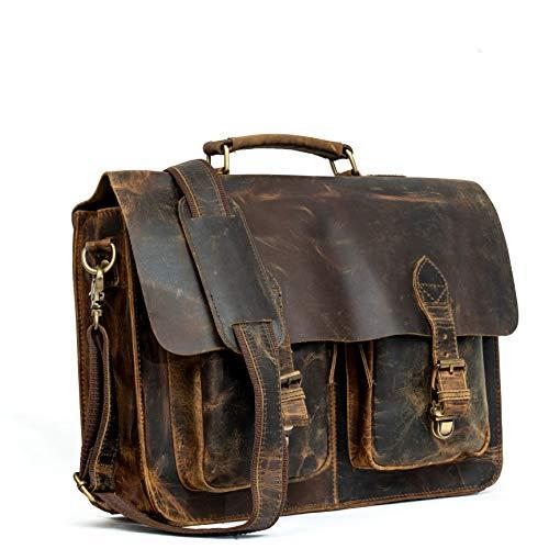 "16"" Inch Rustic Vintage Retro Buffalo Hunter Leather Laptop Messenger Briefcase Satchel Office Bag Men & Women (Distressed Tan)"