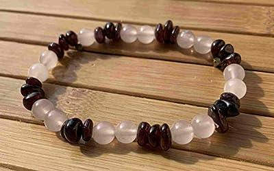 bracelet AME SOEUR Grenat Quartz Rose pierre naturelle semi-précieuse Attire l'amour, favorise la rencontre de l'âme soeur