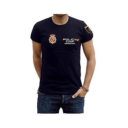 Piel Cabrera Camiseta Policia Nacional Opositor (L, Azul Marino)
