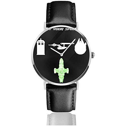 Seleccione su Reloj Espacial de Cuero de Cuarzo con Correa de Cuero Negro para Regalo de colección
