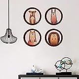 Runinstickers Pegatinas De Pared Creative 4Pcs/Set Pintura Animal Wallpaper Pegatinas De Pared Mural Poster BTS Adesivo De Parede En La Decoración del Hogar