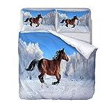 Copripiumino Set, Modello Cavallo Set Copri Piumino Stampa Animali 3D,Set Biancheria da Letto per Letto King Size 240 * 220CM con 2 federe.