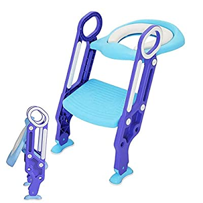 Adjustable Potty Training Seat Toilet with Step Stool Ladder Baby Toddler Kids Soft Toilet Seats for Boy and Girl Toilet Training Seat Chair With Ladder Step Stool