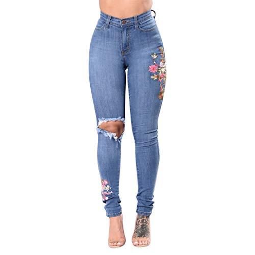 Auiyut Damen Hoch Taillierte Skinny Stretch Jeans Denimjeans Lange Hosen Freizeithose Elegant Gestickte Komfortable große Größen Loch Hüftjeans Einfarbige