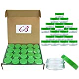 Beauticom 40 pcs 10 Gram (0.35 oz) Plastic Pot Jars – BPA FREE Clear Round Acrylic Container for Travel, Cosmetic, Makeup, Bead, Sample, Lip Balm, Candy, Herbs, Eye Shadow 10g/10ml (Green Screw Lid)