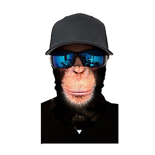 IsMoon Bandana für Damen/Herren Mode Multifunktionstuch   Schlauchtuch   Halstuch für Motorrad Fahrrad Ski Paintball Gamer Karneval Kostüm Lustig 3D Tiere Gesichtsschal (B)
