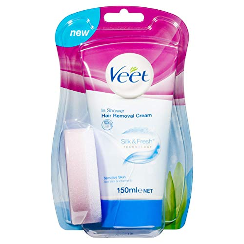 Veet Enthaarungscreme unter der Dusche, empfindliche Haut, Aloe Vera & Vitamin E – Tube mit 150 ml