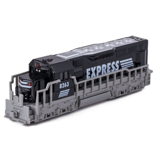 Kinsmart 7 Black Die Cast Freight Train Locomotive Toy with Pull Back Action